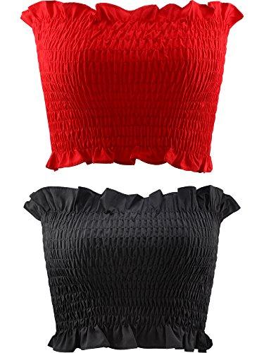 2 Pezzi Donne di Stretch Solido Grembiule Tubo Senza Spalline Raccolto Superiore (Rosso e Nero)