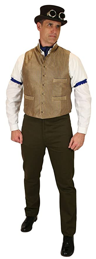 Steampunk Clothing- Men's Steampunk Mandarin Collar Striped Dress Vest $61.95 AT vintagedancer.com
