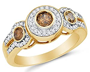 Size 5.5 - 10K Yellow Gold Chocolate Brown & White Round Diamond Halo Circle Engagement Ring - Prong Set Three Stone Center Setting Shape with Channel Set Side Stones (4/5 cttw.)