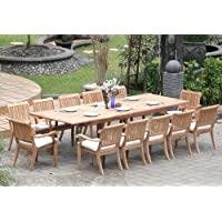New 13 Pc Luxurious Grade-A Teak Dining Set - Large 117 Rectangle Table and 12 Stacking Arbor Arm Chairs #WHDSABo