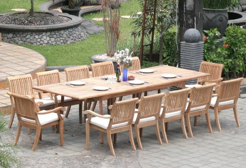 "New 13 Pc Luxurious Grade-A Teak Dining Set - Large 117"" Rectangle Table and 12 Stacking Arbor Arm Chairs #WHDSABo"
