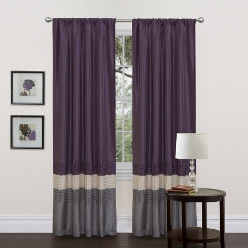 - Lush Decor Mia Curtains | Window Panels Drapes Color Block Stripe Set for Living, Dining, Bedroom (Pair), 84