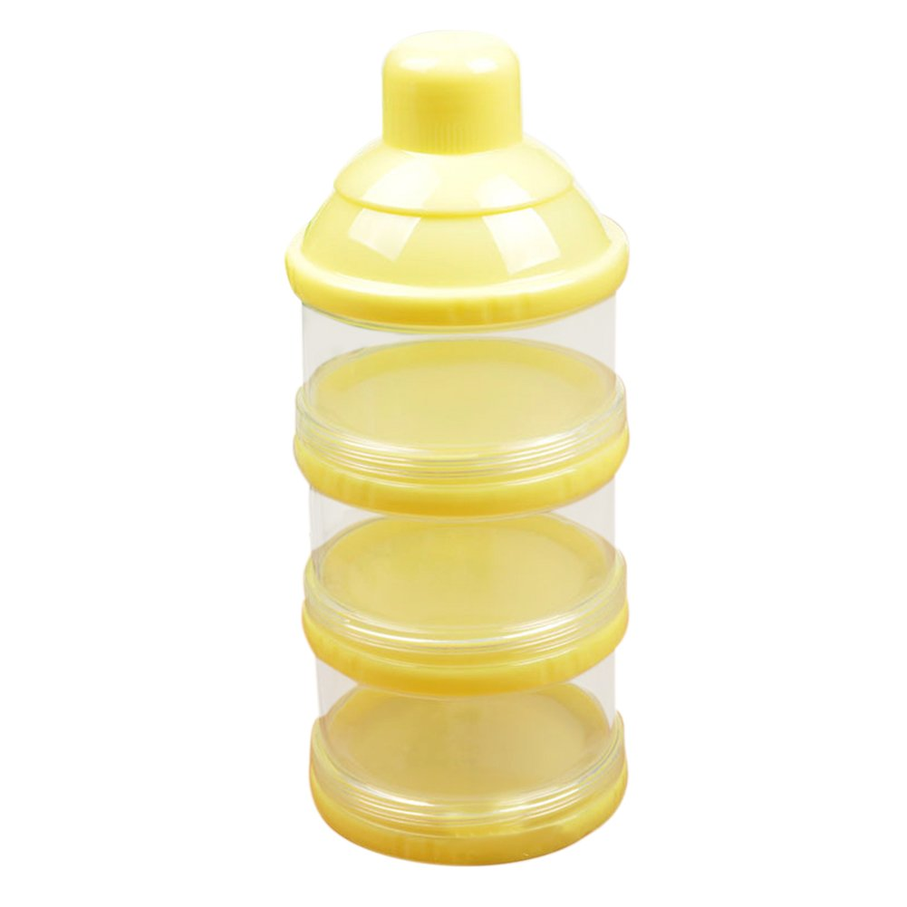 Zhengpin Baby Infant Kid Feeding Milk Powder Food Bottle 3 Cell Grid Box Container Holder (Yellow)