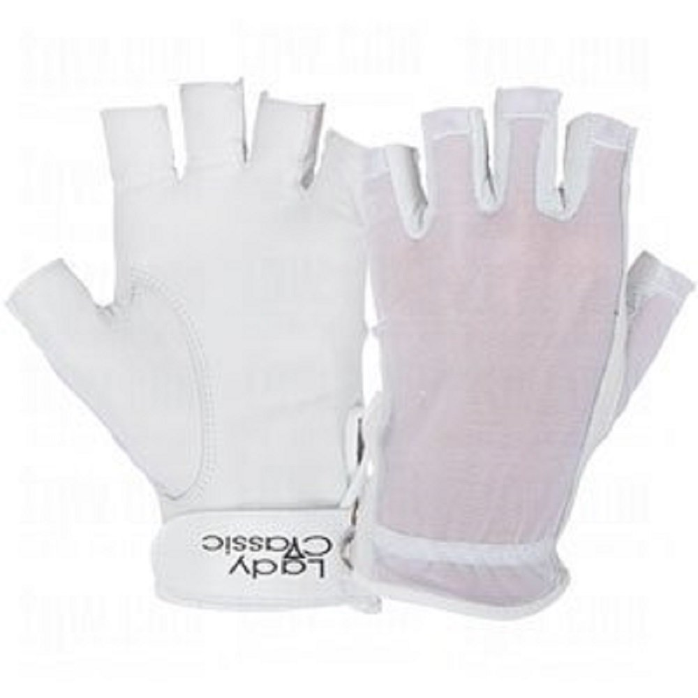 Lady Classic Ladies Solar Tan Golf Half Glove 1 2 Glove White Left Medium