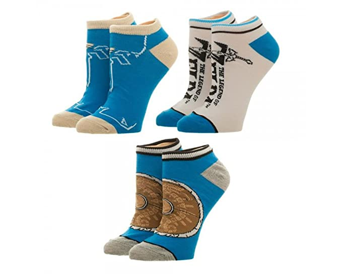 c6e2db9e202d1 Amazon.com: Legend of Zelda Breath of the Wild Ankle Sock 3 Pack ...