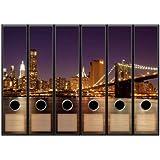 Lot de 6 étiquettes pour dos de classeur-motif horizon de mANHATTAN-format: 65 x 300 mm compatible avec les classeurs a4 ayant un dos de 7,5 ou 8 cm de largeur