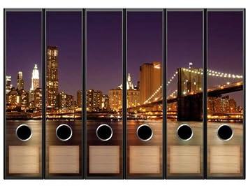 Pegatinas para archivadores con diseño de Manhattan, 65 x 300 mm, aptas para archivadores