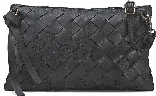 MIYA BLOOM, bolsos de señora, bolsos de noche, bolsos para el antebrazo, mochilas, bandoleras, bolsos crossover, 32.5 x 20.5 x 2 cm (AN x AL x pr), color: negro negro