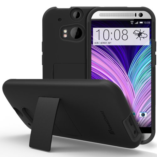 HTC One M8 Stand Case, GreatShield Legacy Series Ultra Slim Fit Hybrid Snap On Case Back Cover with Kickstand for HTC One M8 (2014) - Black
