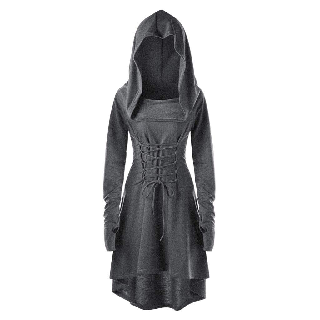Women Costumes Lace Up Hooded Vintage Pullover High Low Bandage Long Dress Cloak by BODOAO