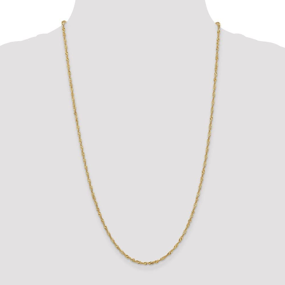Brilliant Bijou 14k Yellow Gold 3mm Flat Wheat Chain Necklace 7 inches