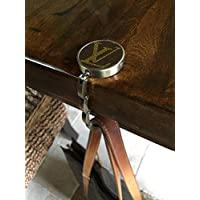 Handcrafted foldable purse hook fashioned with authentic repurposed Louis Vuitton monogram canvas