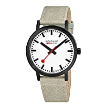 Mondaine ' SBB' Swiss Quartz Stainless Steel and Canvas Casual Watch, Color:Champagne (Model: A660.30360.61SBG)