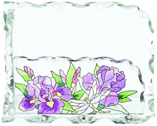 - Joan Baker Designs Purple Irises Art Glass Business Card Holder