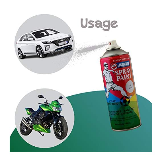 ABRO SP Multipurpose Colour Spray Paint Can for Cars and Bikes - Matt Black & Glossy White Combo (400ml)