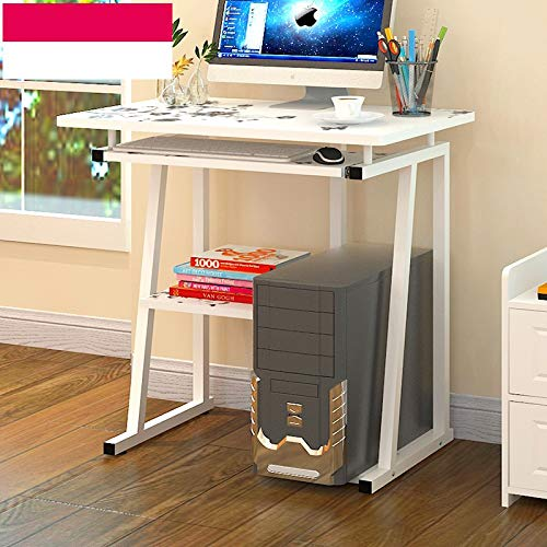 Simple Elegant Wooden Desktop Computer Desk Laptop Study Table Workstation Office Desk with Pullout Keyboard Tray (White)