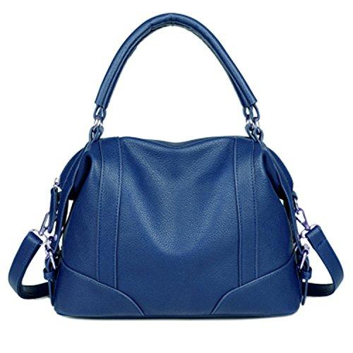 Availcx Bolsos de hombro de cremallera de bolso de cuero suave de las mujeres Azul