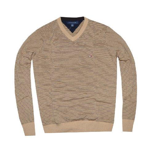 tommy hilfiger men thin stripes logo v neck sweater. Black Bedroom Furniture Sets. Home Design Ideas