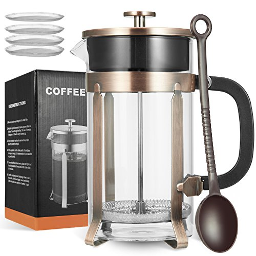 MeetU French Press Coffee Maker with 4 Filters, 34 Ounce FDA 304 Stainless Steel BPA-Free Borosilicate Glass Carafe Tea Maker by MeetU