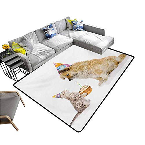 Kitchen Mat for Living Room Kids Birthday,Cat and Dog Domestic Animals Human Best Friend Party with Cupcake and Candle,Multicolor 60