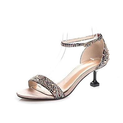 sélection premium cad8c 9be29 Sandales de marche femme Escarpins femme Summer rivet strass ...