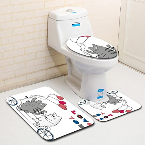 3pc Bath Rug Set Cartoon Pattern Bathroom Rug & Large Contour Mat & Lid Cover Non-Slip Bath Mat Rug Set (G (45x75cm/45x37.5cm/40x35cm), Pad:45x75cm U pad:45x37.5cm Toilet cover:40x35cm)