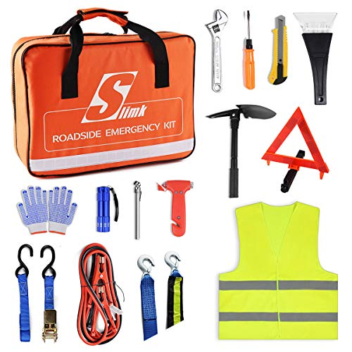 SlimK Auto Emergency Kit Multipurpose Emergency Pack - Heavy Duty Automotive Roadside Assistance - The Ultimate All Season Solution