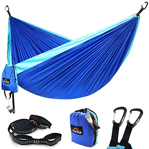 AnorTrek Camping Hammock, Lightweight Portable Single & Double Hammock with Tree Straps [10 FT/18+1 Loops], Parachute Hammock for Camping, Hiking, Garden, Yard (Blue&Sky Blue, Double 78''W x 118''L)