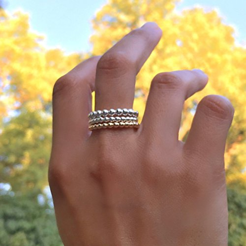 Eternal Set Swirls Jewelry - Set of 3 beaded stackable sterling silver and gold filled stacking rings