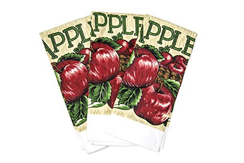 Heavy Printed Cotton Dishtowel Set of 3 Oversized Machine Washable and Ultra Absorbent Kitchen Bar Towels (Red Apples)