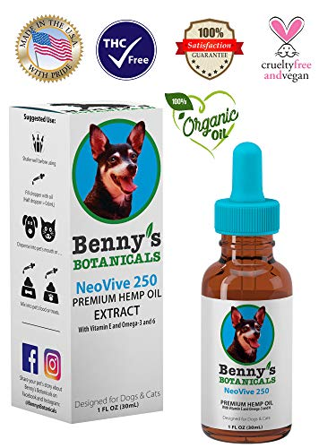 (Benny's Hemp Oil for Dogs and Cats 250mg - Supports Anxiety Relief, Aging, and Joint Pain in Pets - 100% Organic, Natural, Grown & Made in USA)