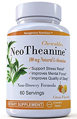 Suntheanine® Chews Patented L-Theanine 100mg | Premium Relaxation Support | Naturally Flavored Anxiety & Stress Support | Support Focus and Better Sleep | 60 Chewable Tablets