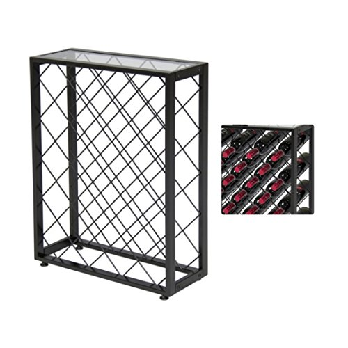 iElegant 32 Bottle Wine Rack W/ Glass Table Top Solid Construction Liquor Cabinet Dining Room Kitchen Home Display Space-Efficient Storage - St Queens Brisbane