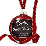 Christmas Decoration Mountains chalkboard Twin Sisters Mountain - Washington Ornament