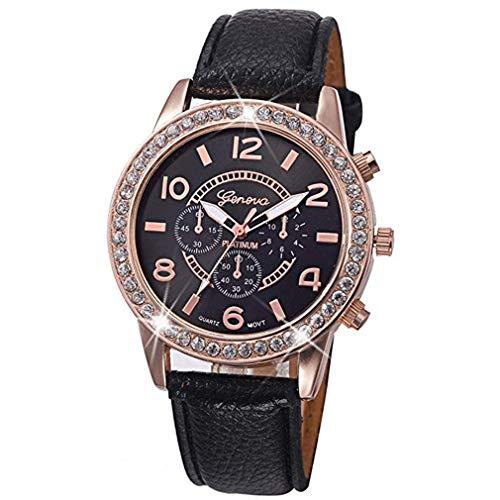 - Windoson Women's Classic Geneva Luxury Diamond Analog Quartz Wrist Watches Bracelet Fashion Wrinkle Leather Strap (Black)
