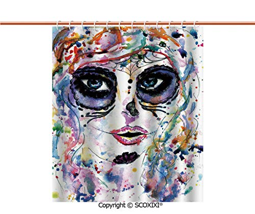 SCOXIXI Shower Curtain,Lightweight,Halloween Girl with Sugar Skull Makeup Watercolor Painting Style Creepy Decorative,W60XL72 Inches ()
