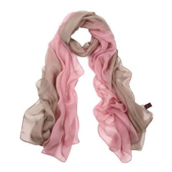 SIGI Ladies fashion Silk Scarf Gradient colour Shawl Scarves (pink ... 0f34711cb3359