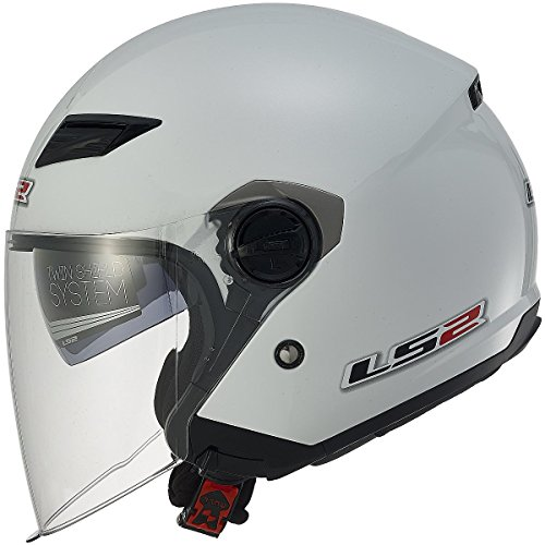 LS2 Helmets 569 Track Solid Open Face Motorcycle Helmet with Sunshield (Pearl White, Medium) - 569-3043