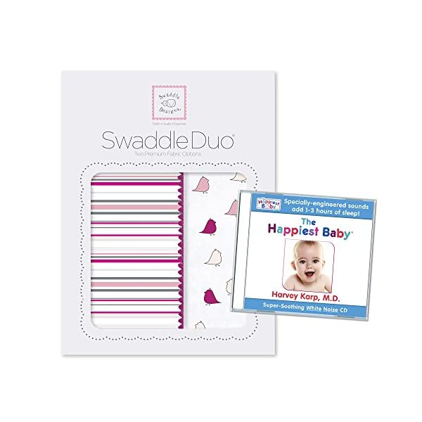 SwaddleDesigns SwaddleDuo, Set of 2 Swaddling Blankets + The Happiest Baby White Noise CD Bundle, Stripes and Little Chickies, Very Berry