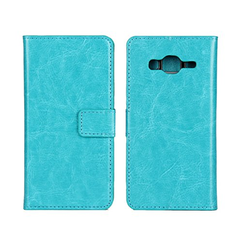 Galaxy J3 (2016) Funda,COOLKE Retro PU Leather Wallet With Card Pouch Stand de protección Funda Carcasa Cuero Tapa Case Cover para Samsung Galaxy J3 (2016) 5.0 - Rosa Claro Azul