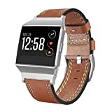 For Fitbit Ionic Bands 5.5''-8.1'', Gotd Leather Sport Straps Accessory Replacement for Fitbit Ionic Smart Fitness Watch Women Men (Brown)