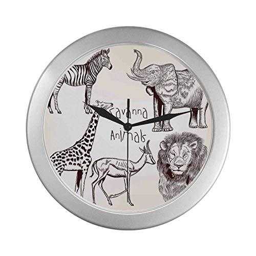 C COABALLA Safari Simple Silver Color Wall Clock,Collection of Tropic African Asian Wild Savannah Animals Lion Giraffe Zebra Graphic for Home Office,9.65