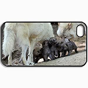 Customized Cellphone Case Back Cover For iPhone 4 4S, Protective Hardshell Case Personalized Family Wolf She Wolf The Cubs Toddlers Progeny Black