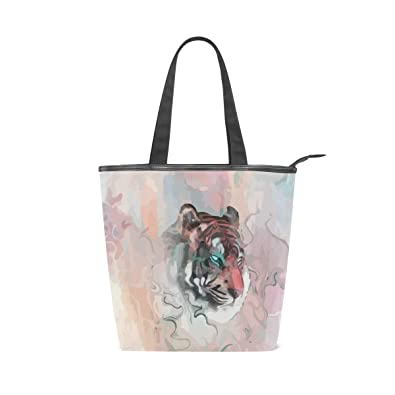 e9454c064cf2 Bennigiry Tiger Canvas Large Shopping Tote Bag Zippered Travel Tote ...