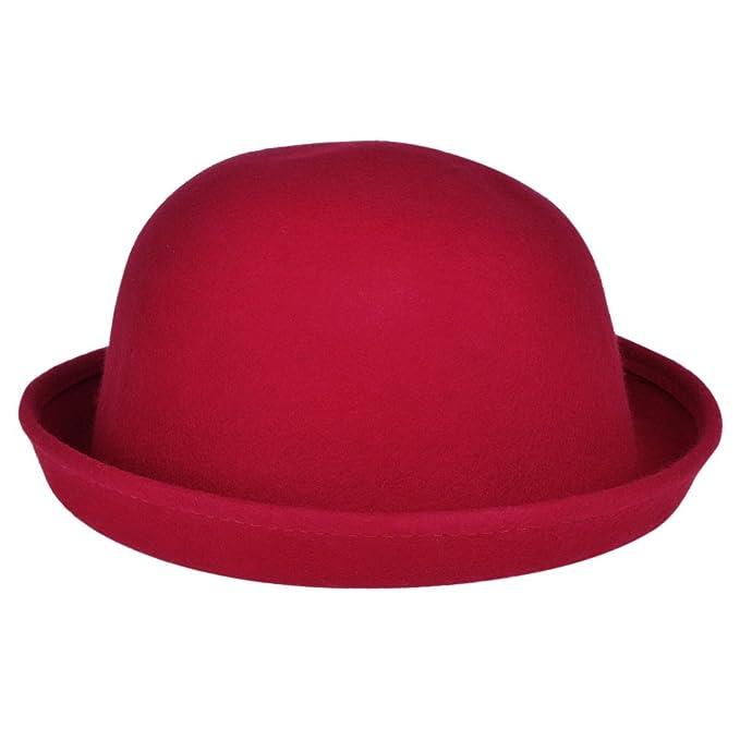 Vbiger Berretto da Ragazza Donne Lana Cappello Autunno Inverno Retro (Rosso) 3172253a6d19