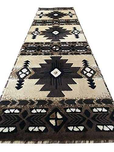 Southwest Native American Runner Area Rug Berber Beige Concord Design C318 (2 Feet X 7 Feet )