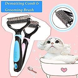 Machao Pet Dematting Rake,Undercoat & Mat Brush,Grooming Brush?Shedding Comb Tool-- No More Nasty Shedding and Flying Hair-Pink