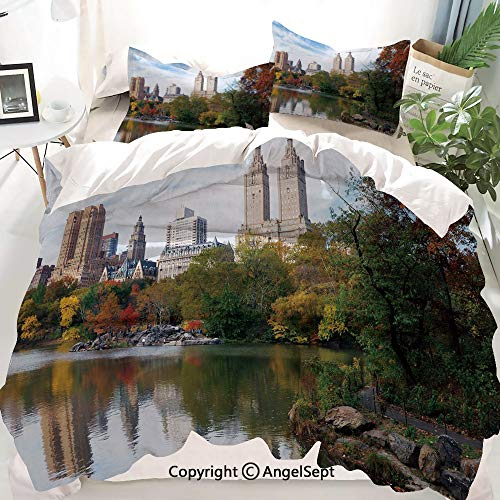 Homenon City Decor Duvet Cover Set Twin Size,Manhattan Central Park Panorama in Autumn Scenic Lake View Colorful Trees Reflection,Decorative 3 Piece Bedding Set with 2 Pillow Shams