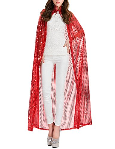 Gameyly Women's Bling Halloween Party Costume Sequins Cape One Size Red - Sequin Devil Teen Costumes