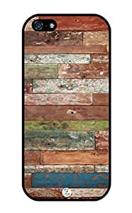iZERCASE Painted Old Wood Coloful Pattern Rubber iphone 5 / iPhone 5S case - Fits iphone 5, iPhone 5S T-Mobile, AT&T, Sprint, Verizon, International Unlocked by icecream design